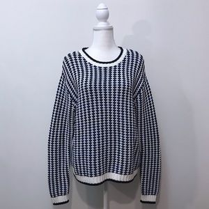 H&M Divided Thick Knit Black Blue White Sweater M